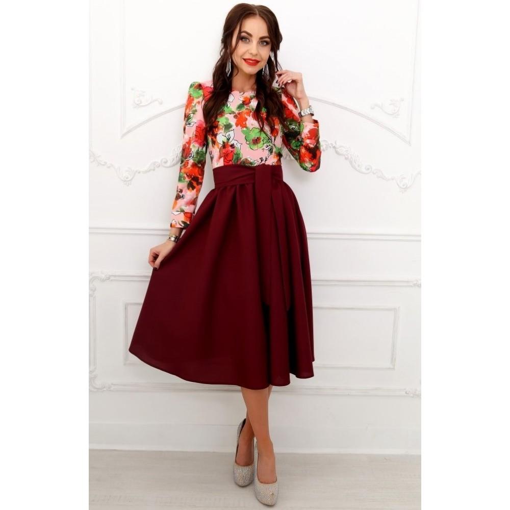 Бордовое платье длины миди с верхом цветы АП172-9