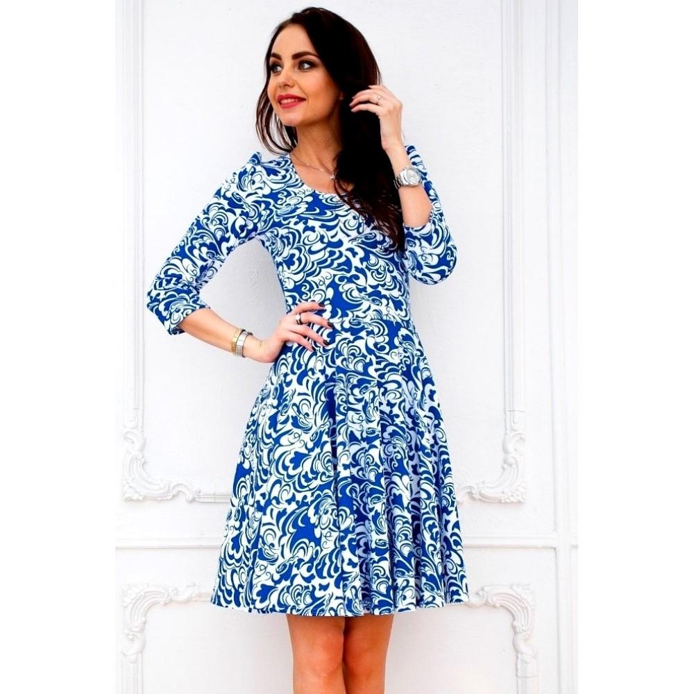 Бело-синее платье с юбкой солнце АП201-3