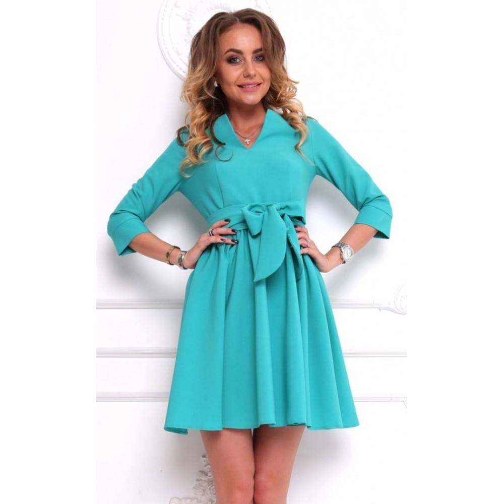 Бирюзовое платье с галочкой АП182-3